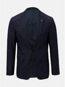 Tmavomodré kockované oblekové slim fit sako Burton Menswear London Puppytooth