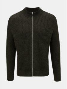 Kaki vzorovaný sveter na zips Burton Menswear London Cable