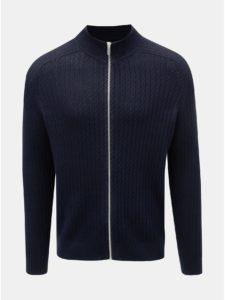 Tmavomodrý vzorovaný sveter na zips Burton Menswear London Cable