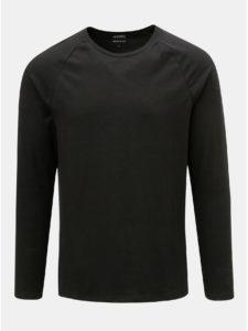 Čierne basic muscle fit tričko s dlhým rukávom Burton Menswear London
