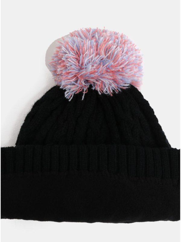 Čierna dievčenská čiapka s brmbolcom a nápisom Roxy Baylee