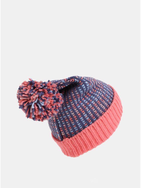Modro–ružová dievčenská melírovaná čiapka s brmbolcom Roxy Flurry