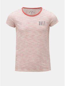 Červeno–krémové dievčenské pruhované tričko Roxy Dreamano