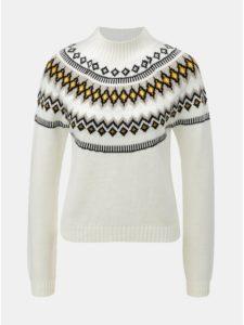 Biely vzorovaný sveter so stojačikom Miss Selfridge