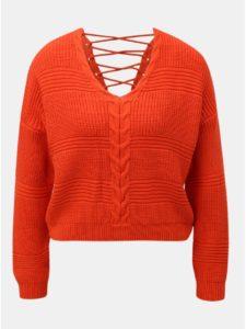 Červený skrátený voľný sveter so šnurovaním Miss Selfridge