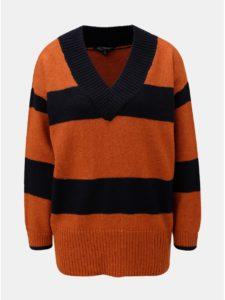Modro–tehlový pruhovaný sveter s véčkovým výstrihom Miss Selfridge Wide Placket