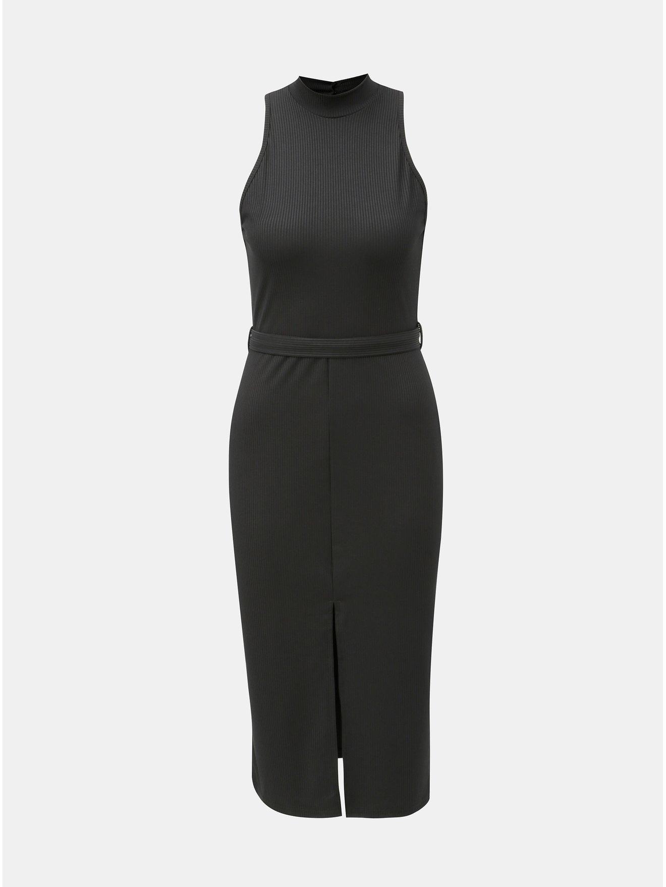 33f0c8a202 Čierne puzdrové šaty s opaskom a rozparkom Miss Selfridge