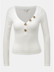 Biele krátke tričko s dlhým rukávom a gombíkmi Miss Selfridge Horn Button
