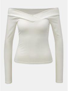 Biele krátke tričko s odhalenými ramenami Miss Selfridge Cross Over Bardot
