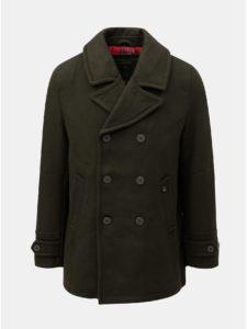 Kaki vlnený kabát so zapínaním na gombíky Merc