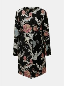 Čierny kvetovaný kabát M&Co Jacquard