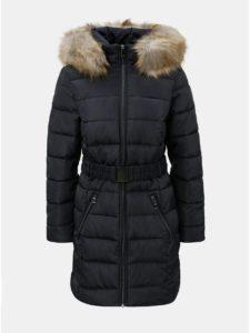 Tmavomodrý prešívaný zimný kabát s odnímateľnou kožušinkou na kapucni Dorothy Perkins