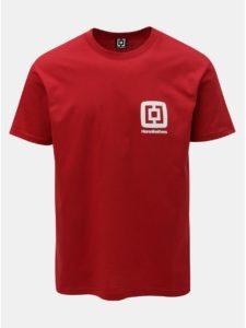 Červené pánske tričko s potlačou a krátkym rukávom Horsefeathers Mini Logo