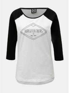 Čierno–biele dámske tričko s 3/4 rukávom a potlačou Horsefeathers Neve