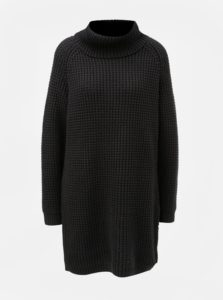 Čierne svetrové šaty s rolákom Roxy
