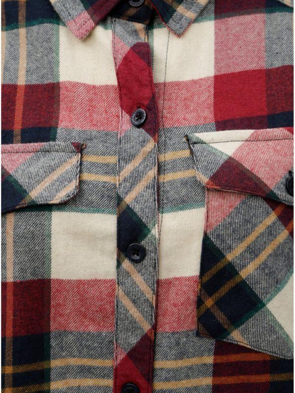 Béžovo–červená dámska kockovaná flanelová košeľa s dlhým rukávom Horsefeathers Maya