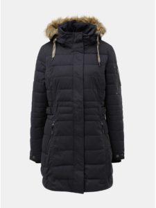 Tmavomodrý dámsky zimný prešívaný nepremokavý kabát s umelou kožušinkou killtec Hawana