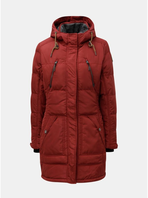 Červený dámsky nepremokavý zimný kabát killtec Treva