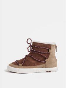Hnedé dievčenské členkové topánky v semišovej úprave s umelou kožušinkou Roxy Jo