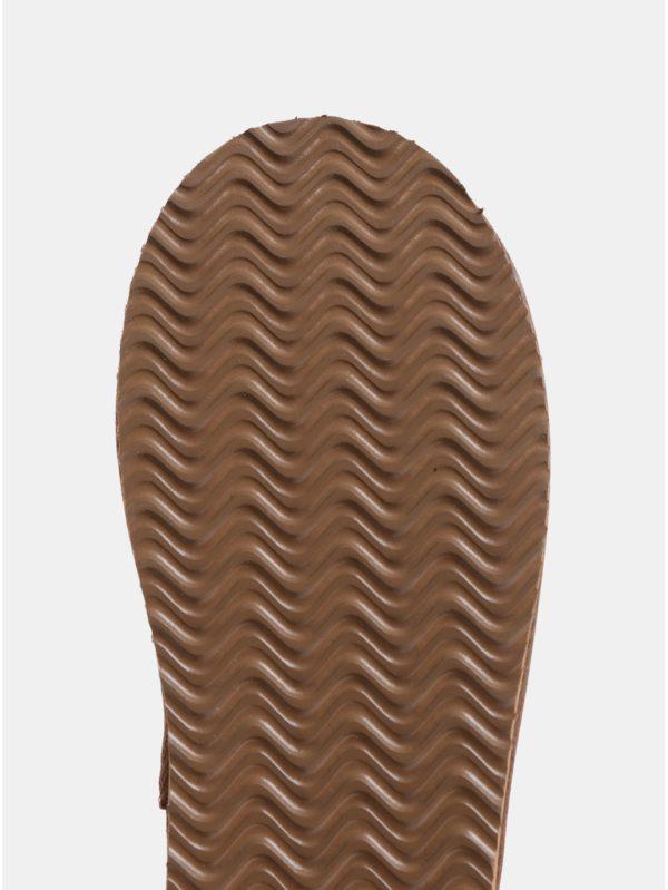 Hnedé dievčenské členkové semišové čižmy s umelou kožušinkou Roxy Molly
