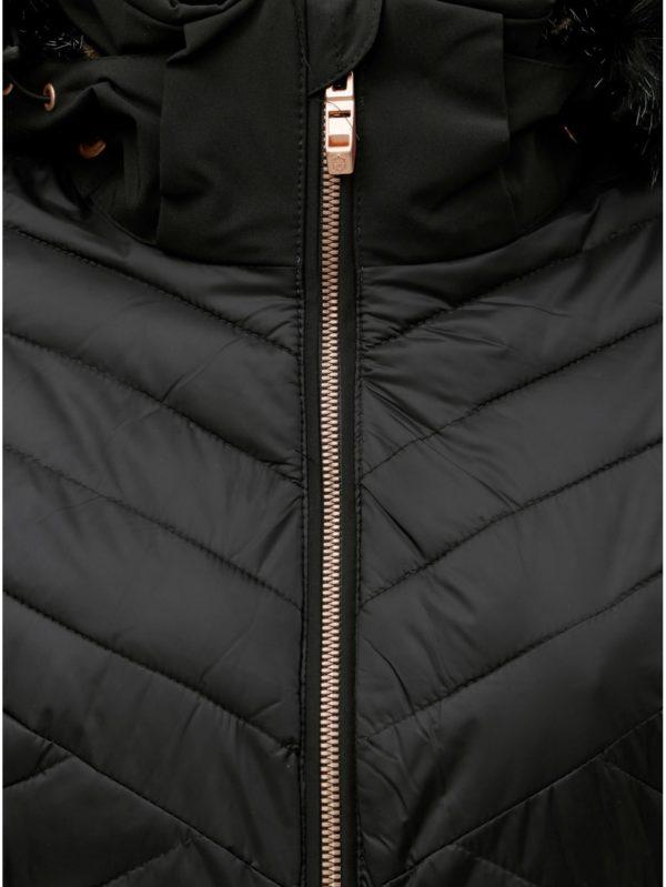 Čierna dámska prešívaná nepremokavá lyžiarska bunda s umelou kožušinkou killtec Khya