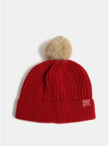 Červená dámska vlnená čiapka s brmbolcom Tom Joule Cable