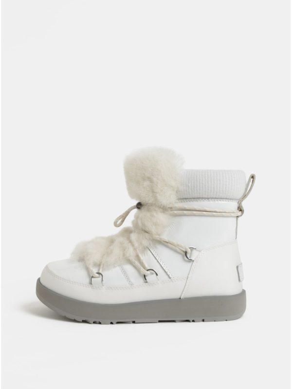 Biele nepremokavé kožené zimné topánky s umelou kožušinkou UGG Highland