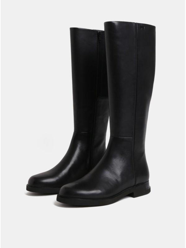 Čierne dámske kožené čižmy Camper Iman