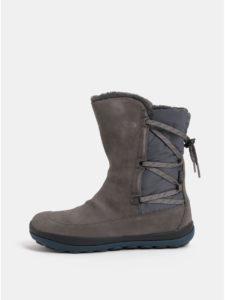 e1db845a15 Sivé dámske semišové členkové topánky s vnútornou umelou kožušinkou Camper  Peu Pista