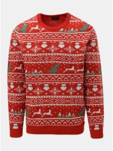 Červený sveter s vianočným motívom ONLY & SONS Xmas