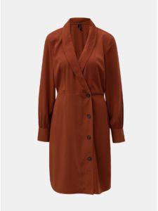 Hnedé šaty s dlhým rukávom a prekladaným výstrihom VERO MODA Pearl