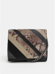 Čierno–béžová vzorovaná kožená kabelka so semišovými detailmi BREE 743d7d3c2f0