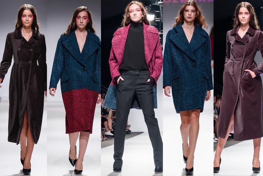 Ukážka rôznych strihov a látok kabátov z aktuálnej kolekcie Rozbora Couture.