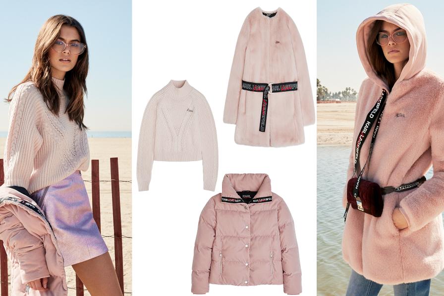 Kolekciu dotvárajú aj jemné tóny ružovej - kabátiky, svetre a prešívaná bunda