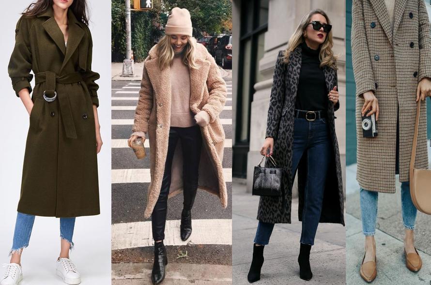 štyri vysoké ženy v dlhých kabátov rôznych farieb, materiálov a potlačí