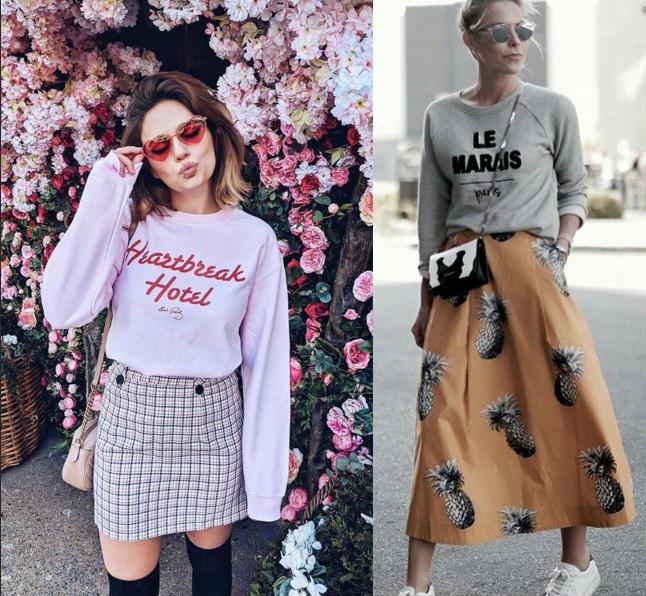 ukážka kombinovania trendy sukne a mikiny s nápisom