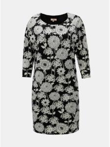 Bielo–čierne kvetované šaty s 3/4 rukávom La Lemon