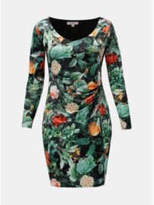 Oranžovo–zelené kvetované šaty s riasením na boku La Lemon