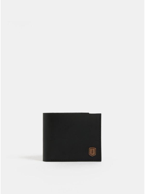 Čierna pánska kožená peňaženka s dreveným detailom BeWooden Nox