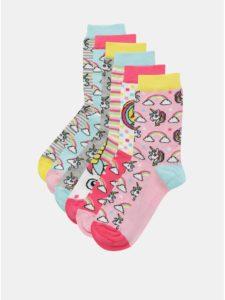 Balenie šiestich dámskych vzorovaných ponožiek v modrej, sivej a ružovej farbe Oddsocks Unicorn