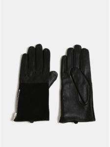 Čierne kožené rukavice s ozdobným zipsom Pieces Fan