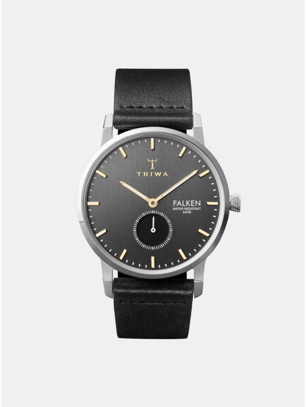 Pánske hodinky s čiernym koženým remienkom TRIWA Smoky Falken