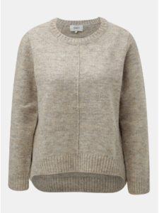 Béžový melírovaný sveter s predĺženou zadnou časťou ONLY Loulou