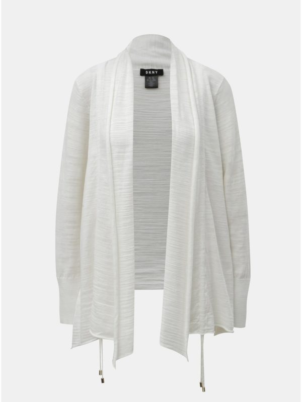 Biely kardigán so sťahovaním na bokoch DKNY