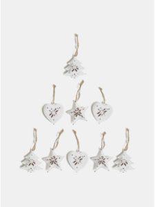 Balenie deviatich bielych vianočných ozdôb v drevenej škatuľke Sass & Belle Snowflake