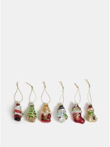 Balenie šiestich vianočných ozdôb v červenej, zlatej a zelenej farbe Sass & Belle Glitzy Mini Christmas