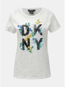Biele tričko s potlačou DKNY