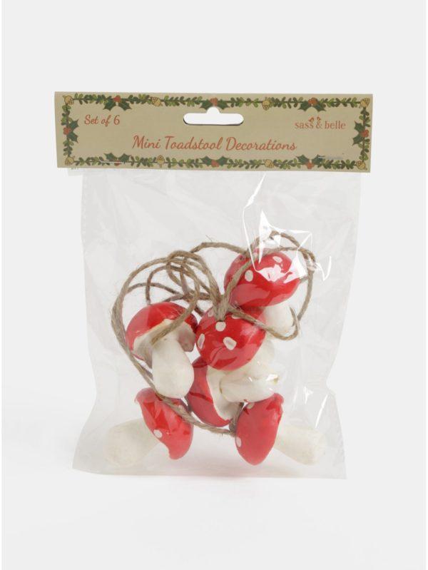 Balenie šiestich vianočných ozdôb v tvare muchotrávky Sass & Belle Forest Toadstools