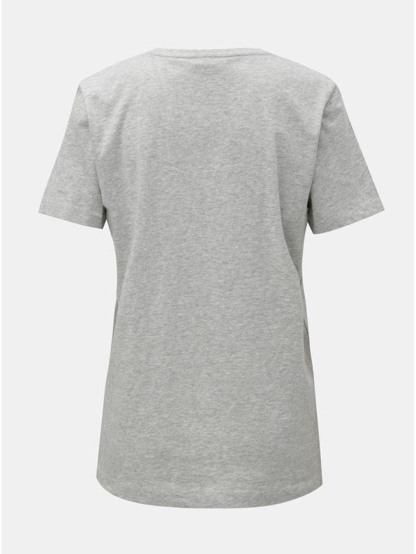 Sivé melírované tričko s plastickým logom DKNY Crew Neck