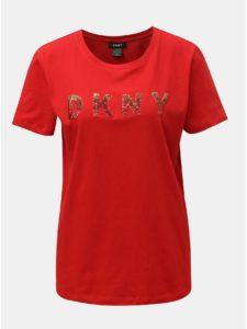 Červené tričko s logom z flitrov DKNY Sequin